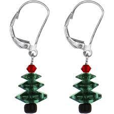 amazon com christmas tree earrings created with swarovski