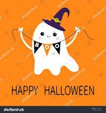 happy halloween flying ghost spirit holding stock illustration