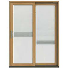 Wooden Patio Door Blinds by Brown Patio Doors Exterior Doors The Home Depot