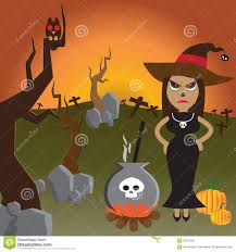 magic halloween background halloween night with witch in black and magic pot stock vector