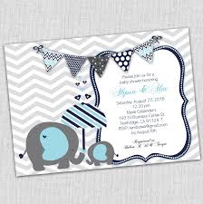 baby elephant baby shower invitation blue and gray baby shower