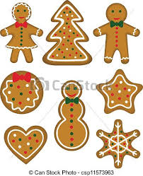 clip art vector of christmas cookies set paistry shaped man