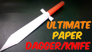 how to make a paper knife dagger easy craft youtube