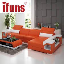 Orange Sofa Bed by Aliexpress Com Buy Ifuns Brillancy Orange Genuine Leather Corner