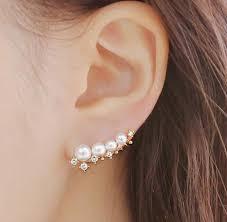 earrings cuffs pearl and rhinestone staring ear cuffs lilyfair jewelry