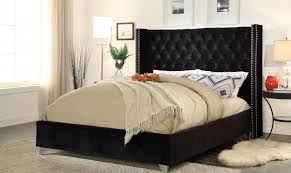 Black King Bed Frames Meridian Aiden King Size Bed In Black Chrome Nailheads