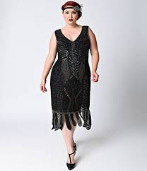 unique vintage plus size 1920s black beaded sleeveless hawkins
