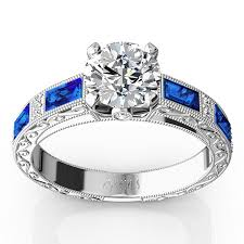 sapphire rings designs images Nostalgic blue sapphire and diamond engraving engagement ring jpg