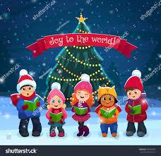 little kids singing christmas caroling pine stock vector 535894060