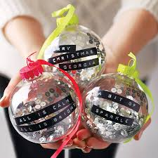 personalised dymo tape bauble ornament clear ornaments and snow