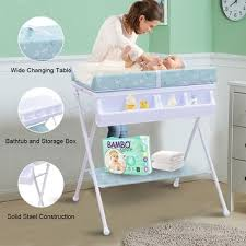 Change Table Bath Costway Infant Baby Bath Changing Table Station Nursery