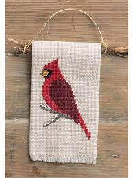 needlework patterns winter cardinal cross stitch pattern