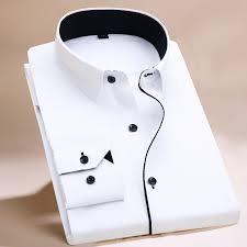 2017 long sleeve shirt men white striped twill shirt brand