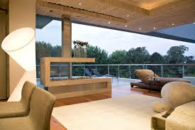 interesting living room design with low wooden coffee table and
