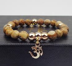 natural beads bracelet images Gold plated om charm with natural stone beads bracelet project jpg