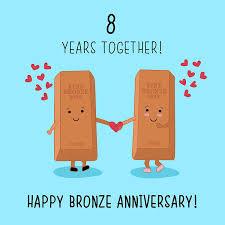 anniversary card 8th wedding anniversary card bronze anniversary