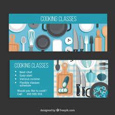 cour de cuisine gratuit en ligne bannières de cours de cuisine avec des détails bleus télécharger
