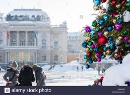 colourful christmas ball ornaments on a giant christmas tree on