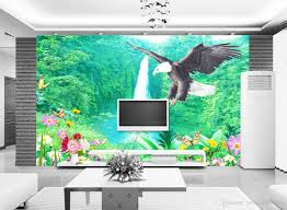 wall papers home decor forest waterfall nonwoven wallpaper