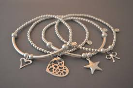 bracelet with hearts images Sterling silver bracelet stack set of four bracelets with hearts JPG