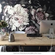 dark floral ii black desaturated wallpaper by ellie cashman design