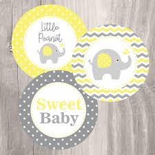 yellow and gray baby shower decorations elephant printable centerpieces yellow and grey elephant baby