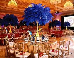multicolor ostrich feather plume white wedding centerpieces table