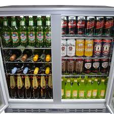 rhino 2 glass door silver commercial bar fridge with lg compressor