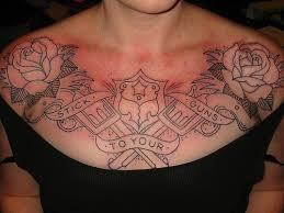 rose chest tattoo for females popular tattoo ideas