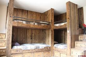 Log Bunk Bed Plans Rustic Bedroom With Built In Bookshelf Bunk Beds Durango