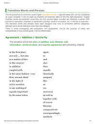 transitions from quote to explanation transition words and phrases agreement addition similarity