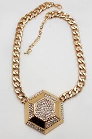 big link necklace images Gold metal chain link big geometric botton charm short necklace jpg
