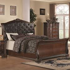 bedroom king size sleigh bed frame cherry sleigh bed cherry