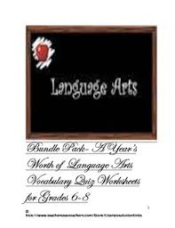 a year u0027s worth of language arts vocabulary quiz worksheets grade 6