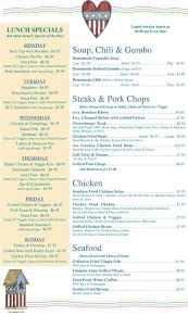 country kitchen menu