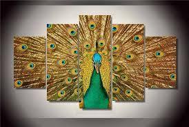 chambre de d馗ompression hd imprimé plumes de paon peinture sur toile chambre décoration d