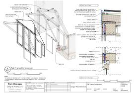 tom kaneko design architecture sketch design build in construction drawing sheet created in sketchup s layout showing an exploded perspective of a bespoke oak frame end wall and details of key junctions