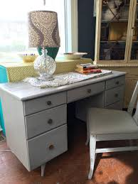 Painted Mid Century Furniture by 804 Mid Century Modern Desk Vanity Painted In Driftwood Grey