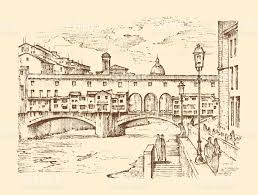 landscape in european town florence in italy engraved hand drawn