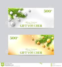 gift voucher template with christmas fir tree stock vector image