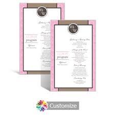 Flat Wedding Programs Custom Color Wedding Reception Programs