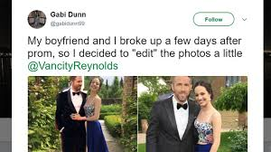 Prom Meme - girl photoshops ryan reynolds into prom photos and a meme is born