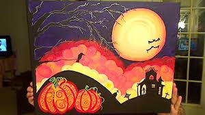 how to paint a halloween scene with acrylic paints youtube