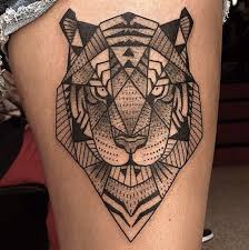 geometric black and white tiger on thigh tattoos photos