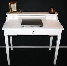 Schreibtisch Holz Schubladen Sekretär 100x91x57cm 1 2 Schubladen Pappel Massiv Weiß Lackiert