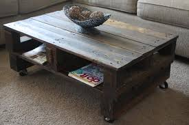 Vintage Coffee Table With Wheels Best Vintage Pallet Coffee Table With Casters Furniture Diy