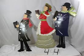 set of 3 metal carolers outdoor yard decorations