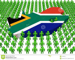 Image Of South African Flag South Africa Map Flag With People Stock Illustration