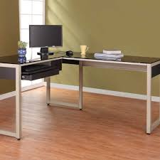 L Shaped Black Glass Desk L Shaped Black Glass Desk With White Wooden Bases On Brown Wooden