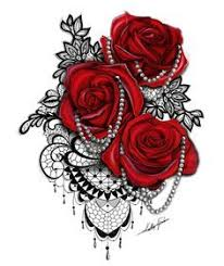 tattoos for women buy this red rose black lace and pearl tattoo